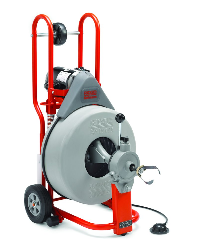 RIDGID 42007 K-750 Drum Machine with C-100 3/4 Inch x 100 Foot Inner Core Cable and AUTOFEED Control, Drain Cleaner Machine and Drain Cleaning Snake with Drain Auger