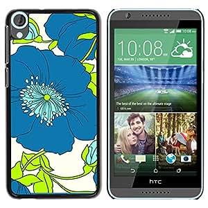 TopCaseStore / la caja del caucho duro de la cubierta de protección de la piel - Green Flower Floral White Drawing - HTC Desire 820