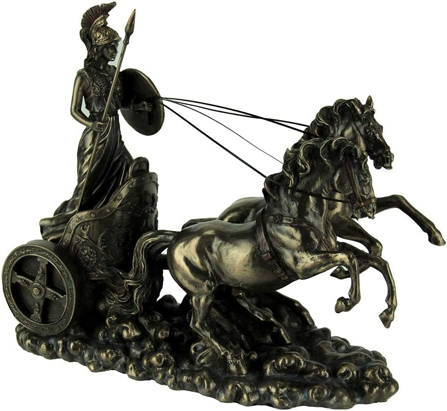 Veronese Design Greek Goddess Athena with Spear and Shield Riding On Chariot Statue