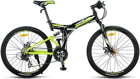 YEARLY Montaña Bicicleta Plegable, Adultos Bicicleta Plegable Hombre Off-Road Amortiguador de Choque Doble MTB Cola Suave 27 Velocidad Shimano Bicicleta Plegable-Negro 26inch: Amazon.es: Deportes y aire libre