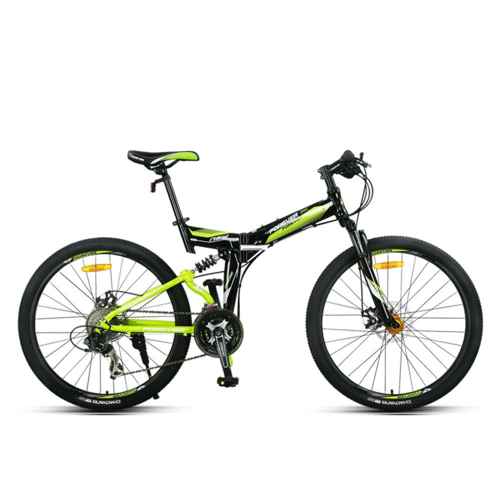 登山 折りたたみ自転車, 大人 折りたたみ自転車 男子 オフロード ダブルの衝撃吸収材 Mtb 柔らかい尻尾 27 速度 シマノ 折りたたみ自転車 26inch 黒 B07D11TTPH