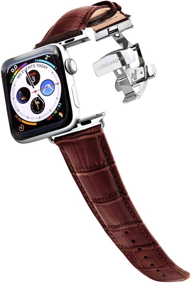 Longvadon Men's Caiman Series Watch Band - Compatible with Apple Watch 38MM (Series 1-3) & 40MM (Series 4-6) - Genuine Top Grain Leather - Mahogany Brown with Silver Details - M Size