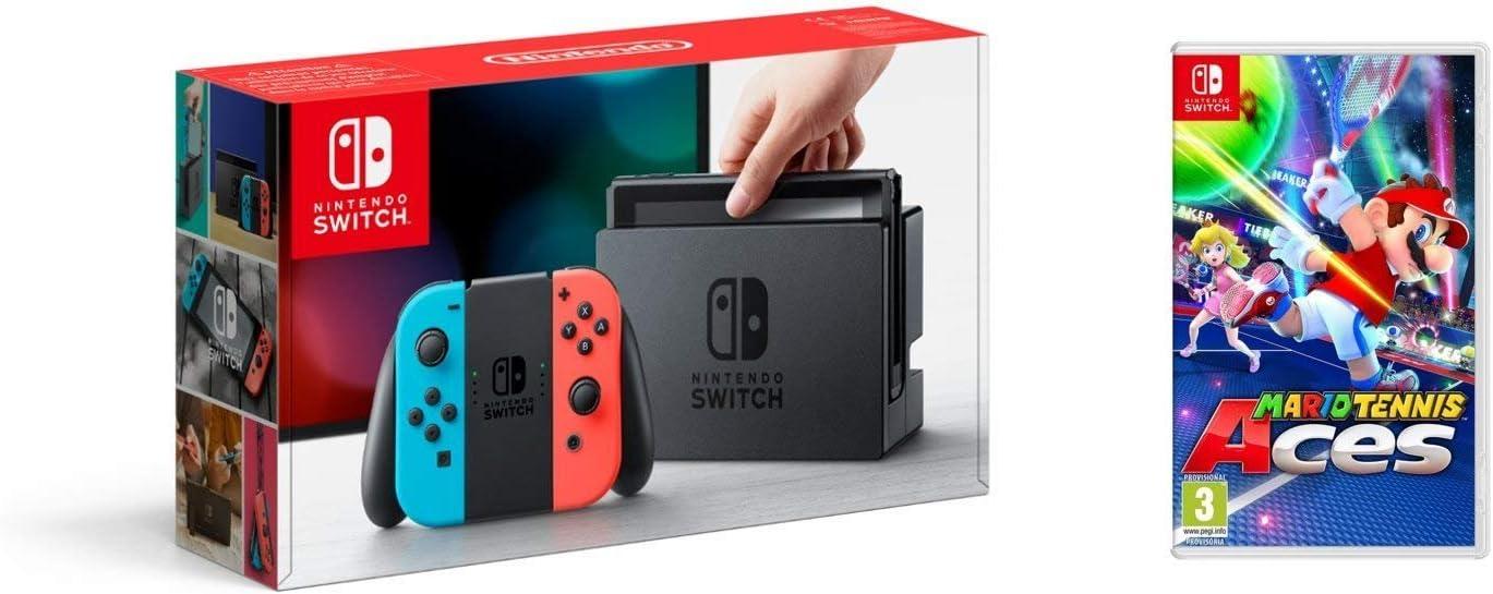 Nintendo Switch - Consola color Azul Neón/Rojo Neón + Mario Tennis Aces: Amazon.es: Videojuegos