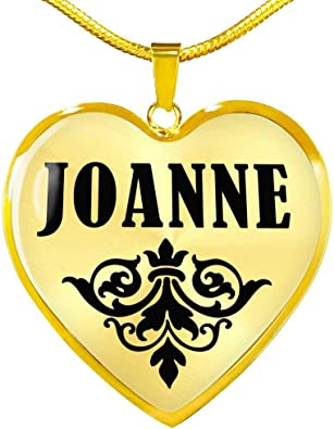 Johnnie v02-18k Gold Finished Heart Pendant Luxury Necklace Personalized Name Gifts