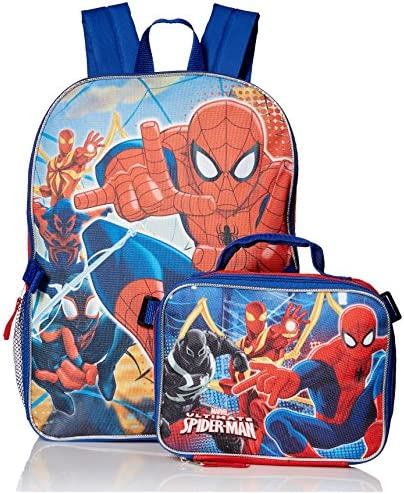 Marvel Boys' Spiderman, Backpack with Lunch Kit Comfort, Red/Blue