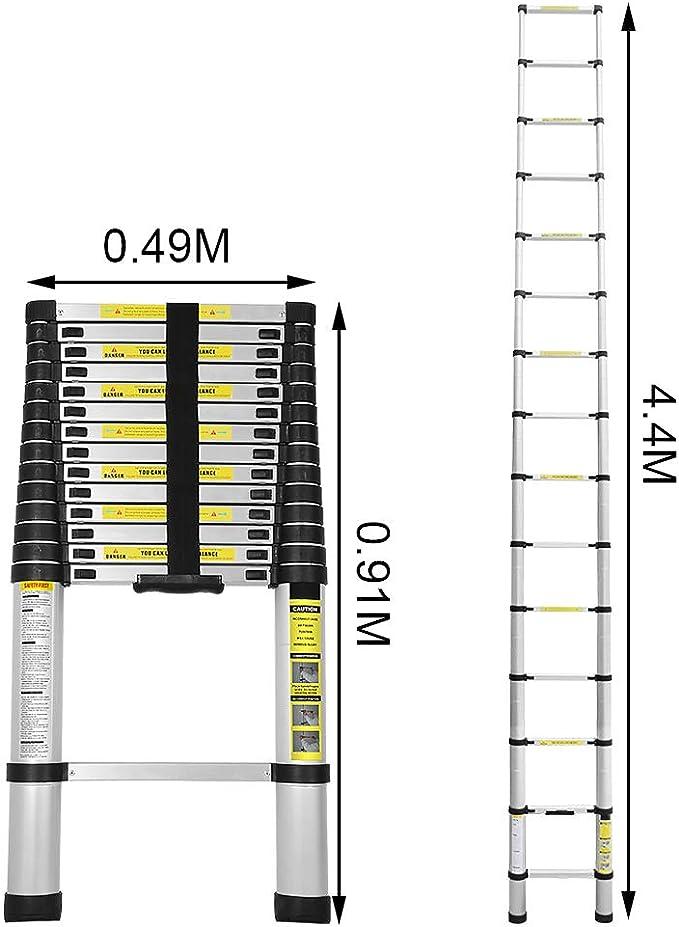 BMOT 4,4M Escalera telescópica de Aluminio Fuerte Estabilidad Escalera plegable Escalera alta multifuncional para loft 15 Escalones Antideslizantes Carga 150 KG: Amazon.es: Bricolaje y herramientas