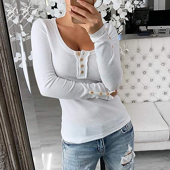 ITISME - Camiseta de Manga Larga para Mujer, Sexy, de algodón ...