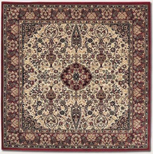 Everest Ardebil/Ivory-Red 3-Feet 11-Inch Square Rug (Couristan Beige Garden)