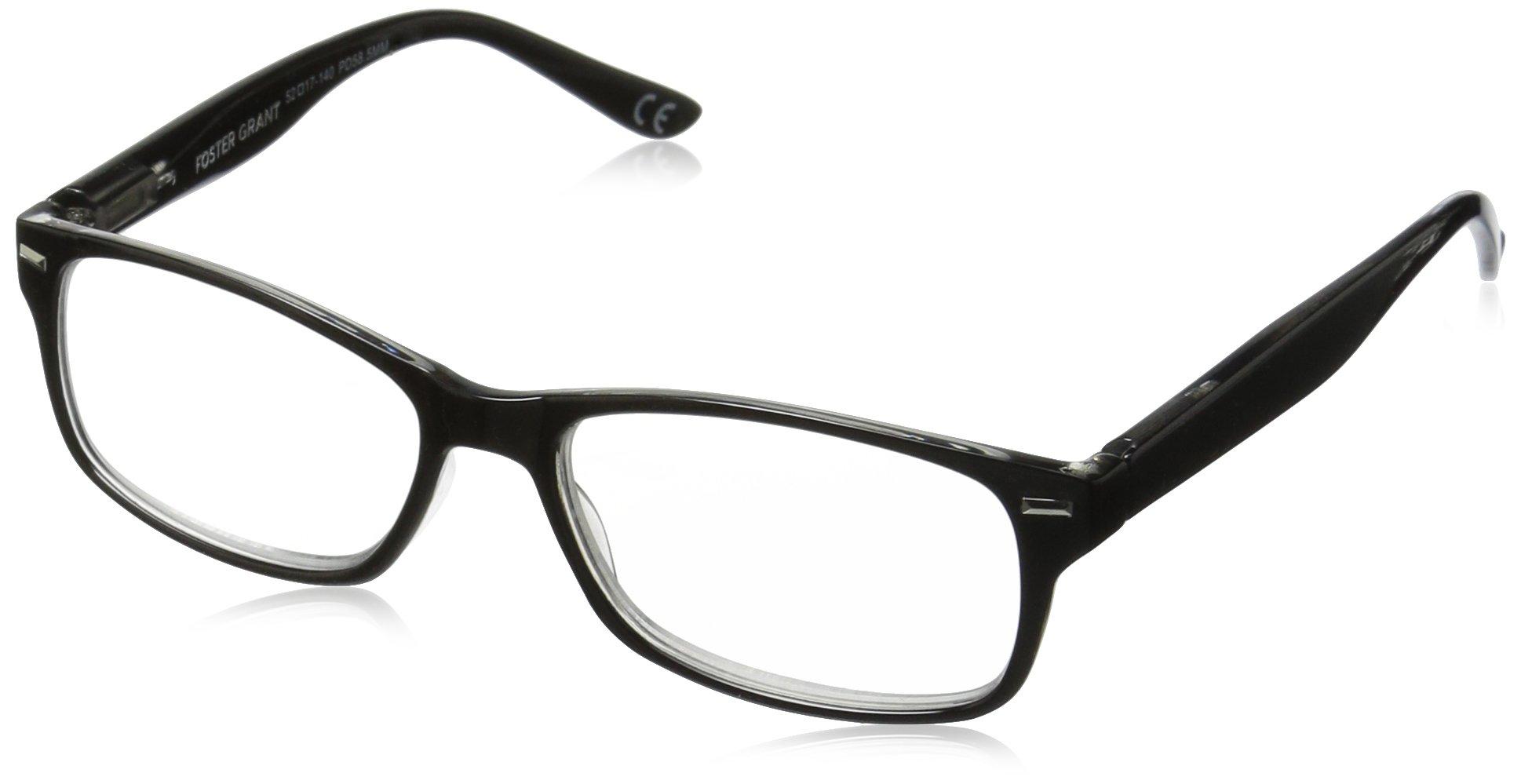Foster Grant Men's Odie 1017554-150.COM Wayfarer Reading Glasses, black, 1.5