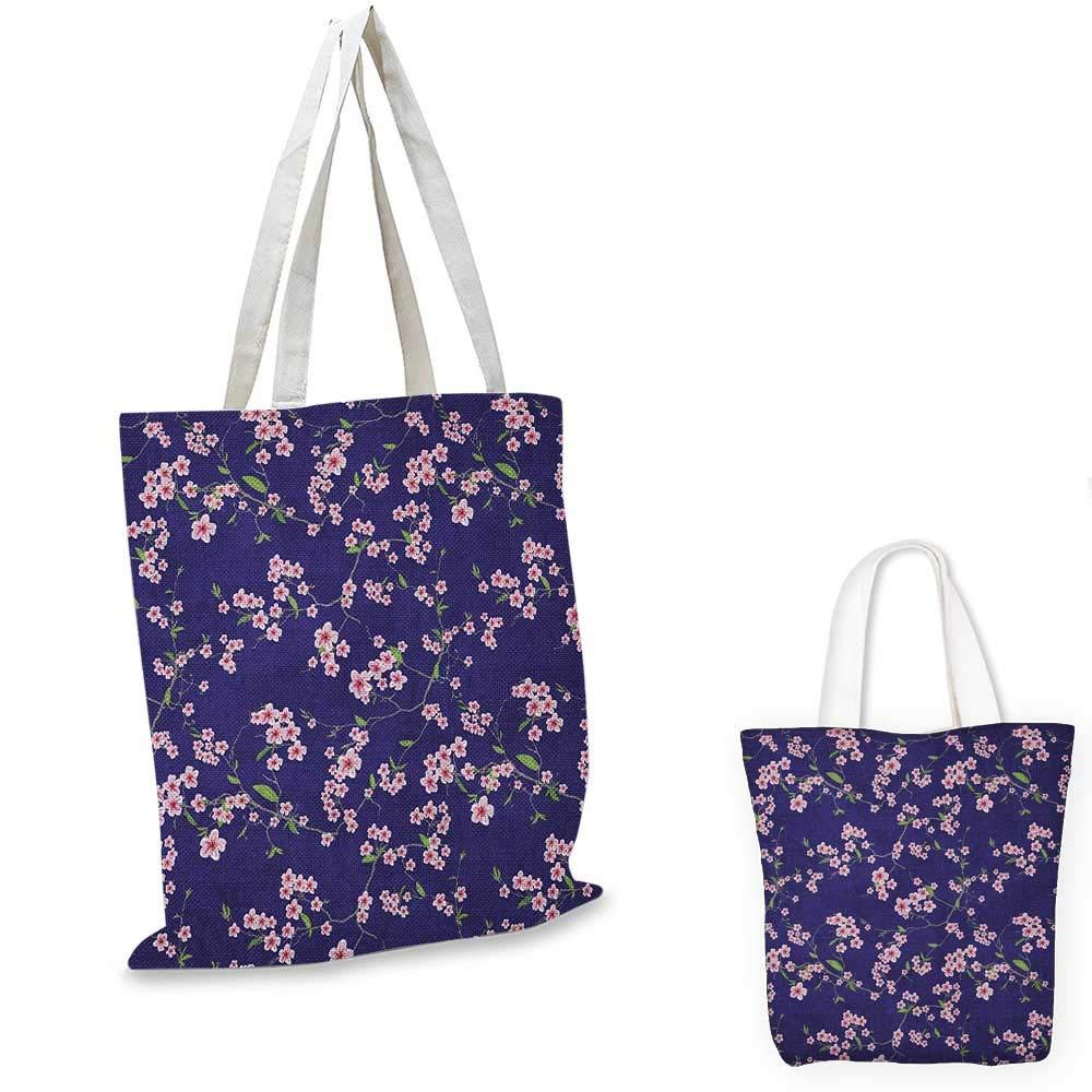 Japanese canvas messenger bag Blooming Sakura Cherry Branches Chinese Asian Oriental Kimono Pattern canvas beach bag Purple Rose Fern Green 12x15-10