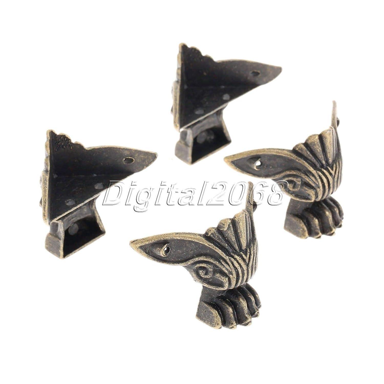 8//16Pcs Bronze Wood Case Gift Jewelry Box Feet Leg Decorative Corner Protector