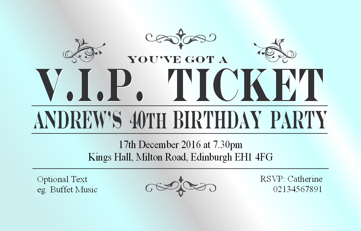 30 BIRTHDAY PARTY INVITATIONS Personalised for You. VIP Ticket Invites. 18th 21st 30th 40th 50th 60th Birthday Invitations. High Quality Adult Party Invites with Envelopes The Save the Date People Steel Vip Ticket