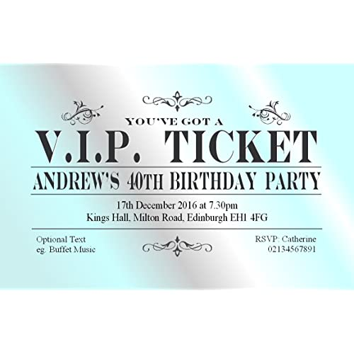 18th birthday invites amazon 30 birthday party invitations personalised for you vip ticket invites 18th 21st 30th 40th filmwisefo