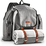 Cheap VonShef 4 Person Premium Outdoor Picnic Backpack Bag With Blanket – Woven Grey Waterproof Finish, Includes 29 Piece Dining Set & Insulated Cooler Compartment to Keep Food Chilled