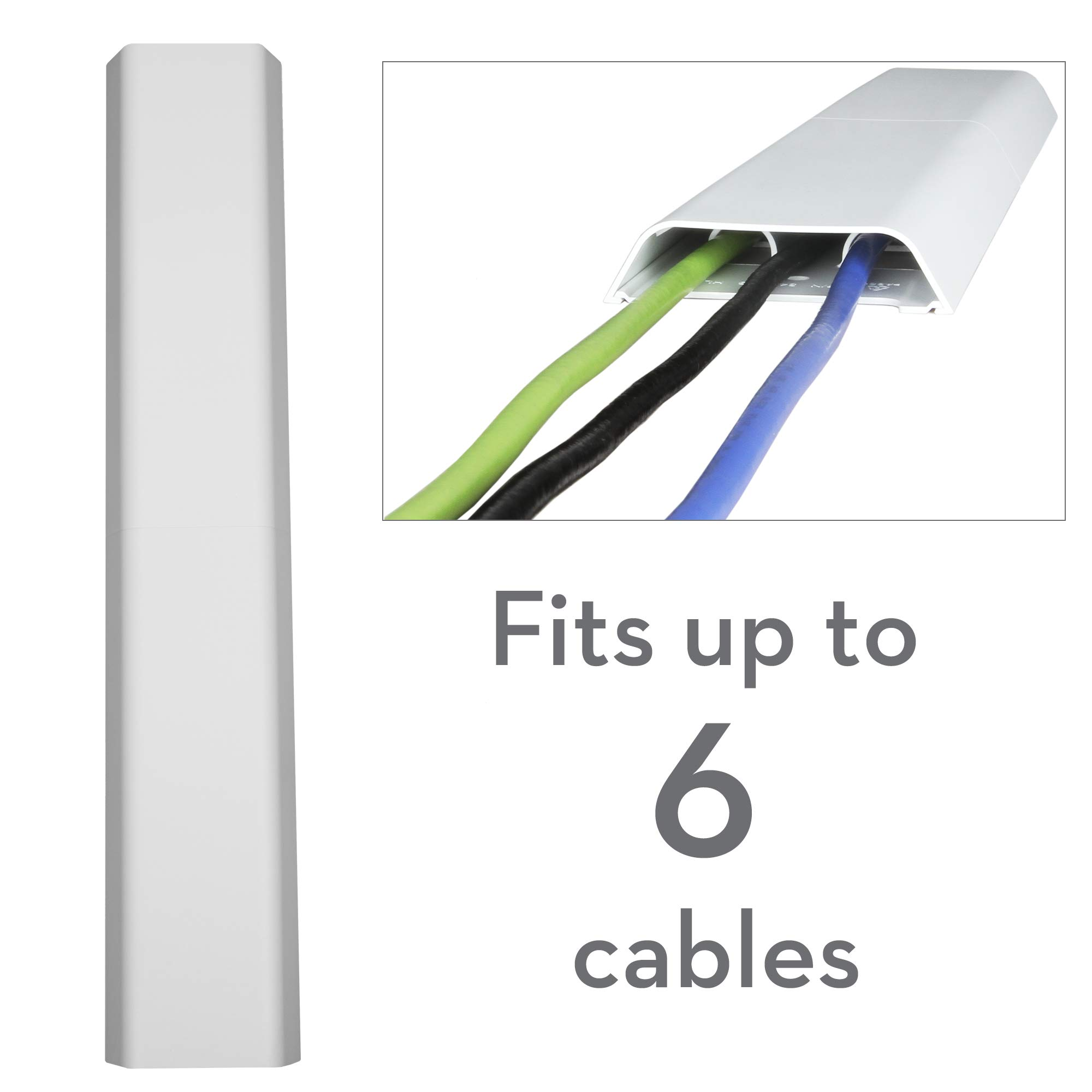OmniMount OCM On-Wall Cable Management Covers, Paintable, Flat Design to Conceal up to 6 Cables, Set of Three, 3.25'' x 18'' Inches