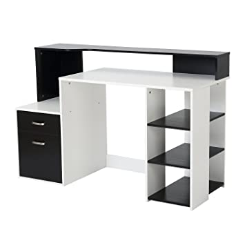 huge discount a9501 07311 HOMCOM Wooden Computer Desk PC Table Modern Home Office Writing Workstation  Furniture Printer Shelf Rack w/ Storage Drawer & Shelves (Black and white)