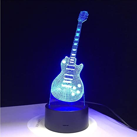 Shuyinju 3D Guitarra Eléctrica Led Lámpara 7 Lámpara De Mesa Usb Colorida Bebé Noche De Dormir