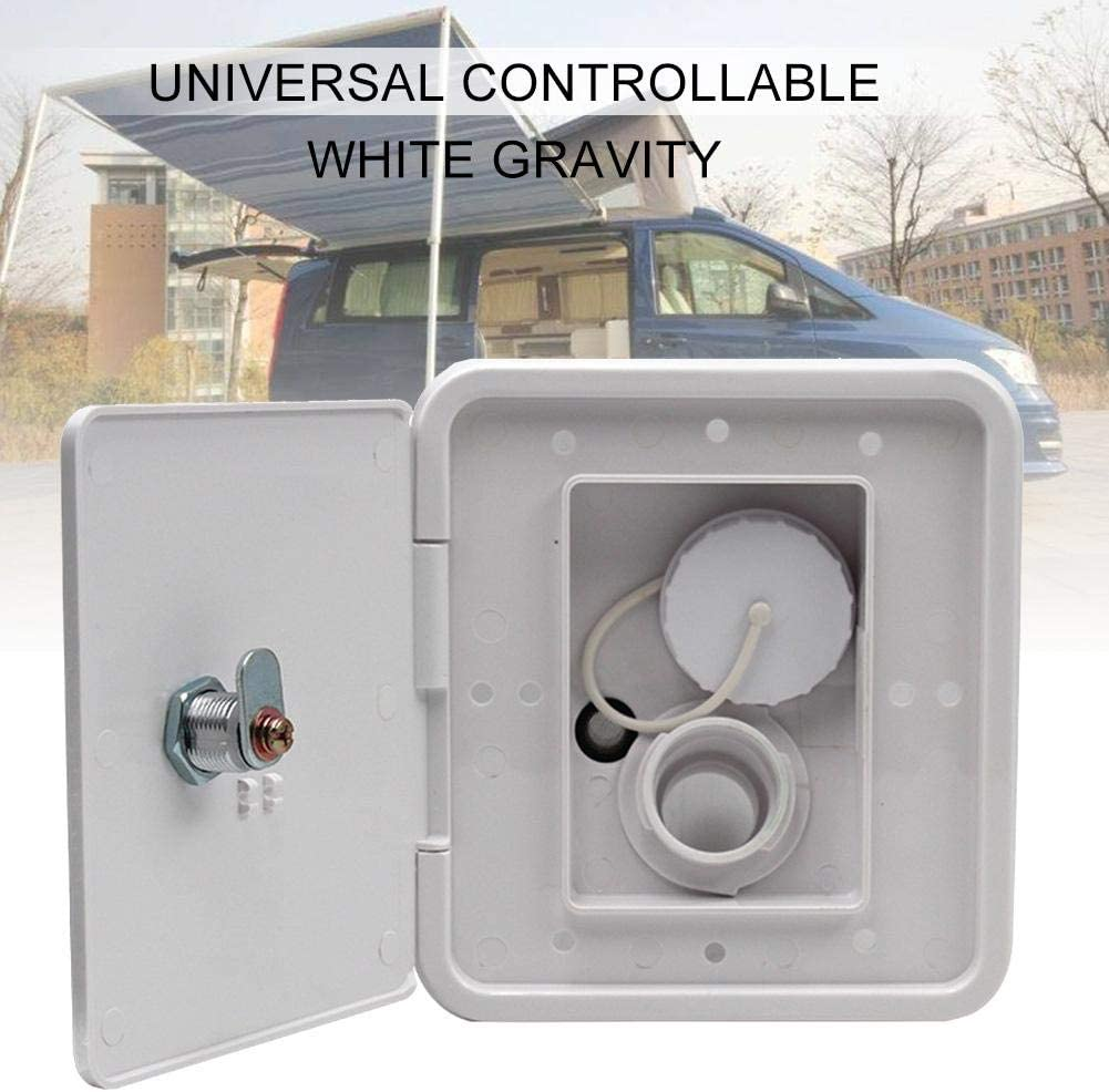 White Gravity Water Hatch Integrated Water Tank RV Trailer Camper Universal Controllable Gravity Water Intake iBaste RV Freshwater Tanks /& Inlets