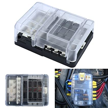yushho56t car fuse box car interior parts fuse holder car vehicle boat 100a  6p fuse holder box + 12p negative line bus bar with screws - - amazon com