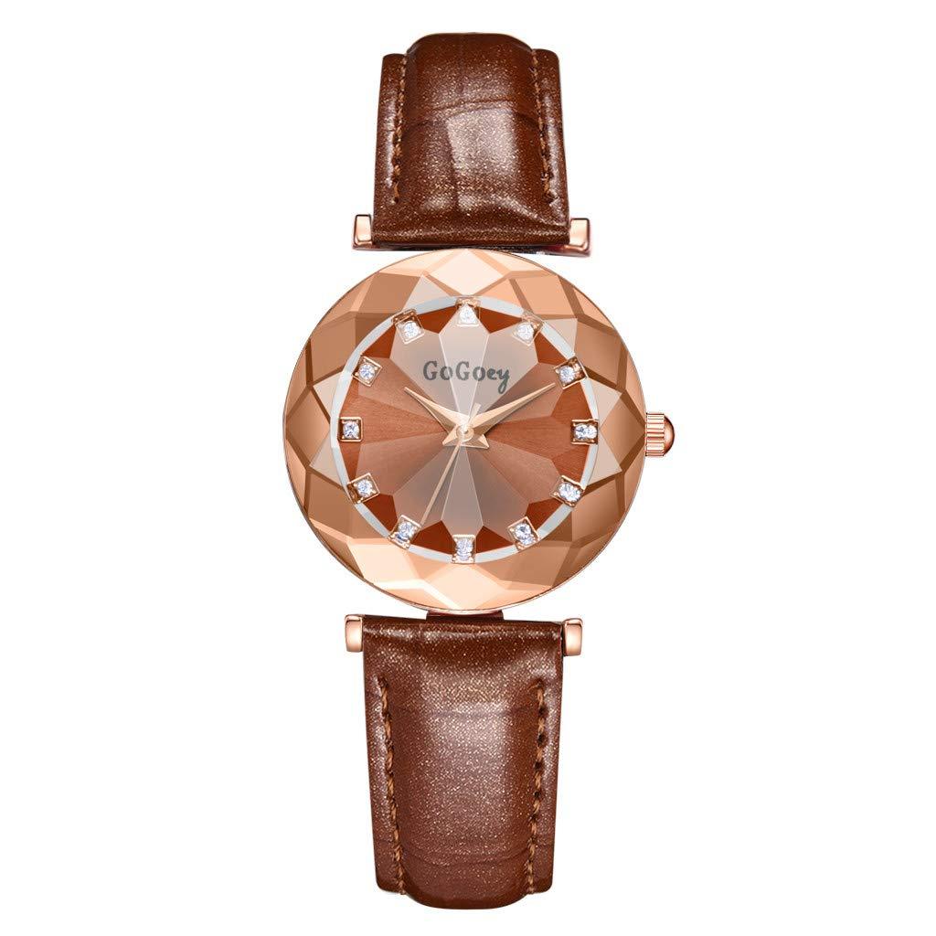 XBKPLO クォーツ腕時計 レディース ラグジュアリー ロンバス 凸面ガラス ダイヤモンド ヘイロー レディース ファインアナログ腕時計 レザーストラップ ブレスレット ジュエリーギフト B07RT54Z9M ブラウン