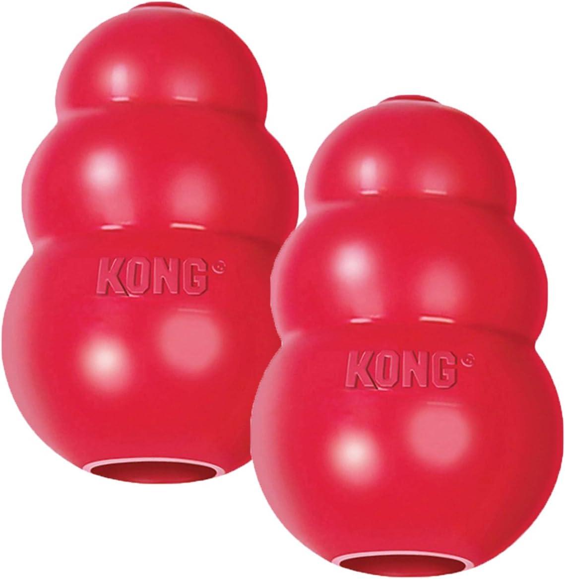 KONG Classic - Juguete para Perros (tamaño Mediano, 2 Unidades), Color Rojo