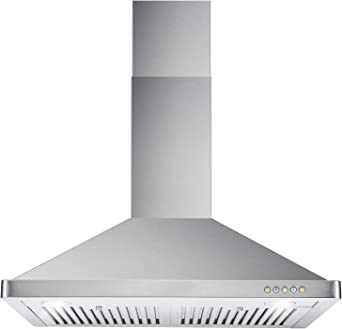 Cosmo 63175 30-in Wall-Mount Range Hood 760-CFM Ductless Convertible Duct  Kitchen Chimney-Style Over Stove Vent LED Light, 3 Speed Exhaust Fan, ...