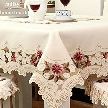 FADFAY European Rustic Tablecloth Handmade Table Cloth Rectangular Hollow  Out Table Cover