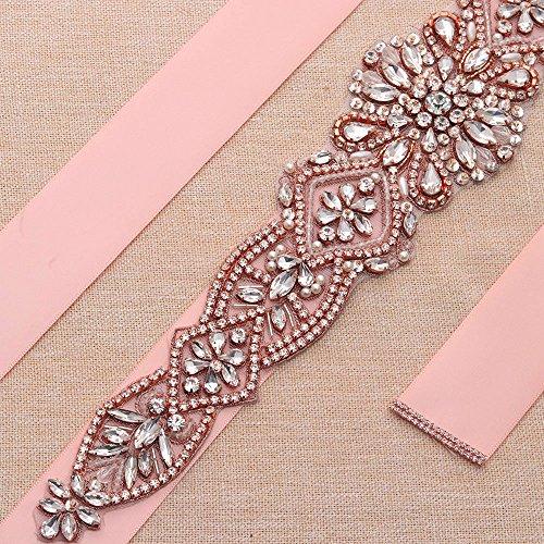Yanstar Handmade Rose Gold Rhinestone Crystal Wedding Bridal Belts Sash With Blush Ribbon Sashes for Evening Party Prom Bridesmaid Dress by yanstar (Image #1)