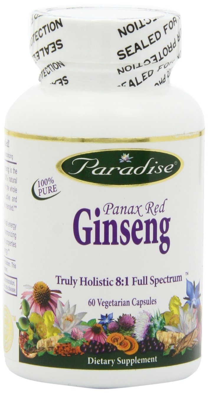 Paradise Herbs Ginseng Panax Vegetarian Capsules, Red, 60 Count