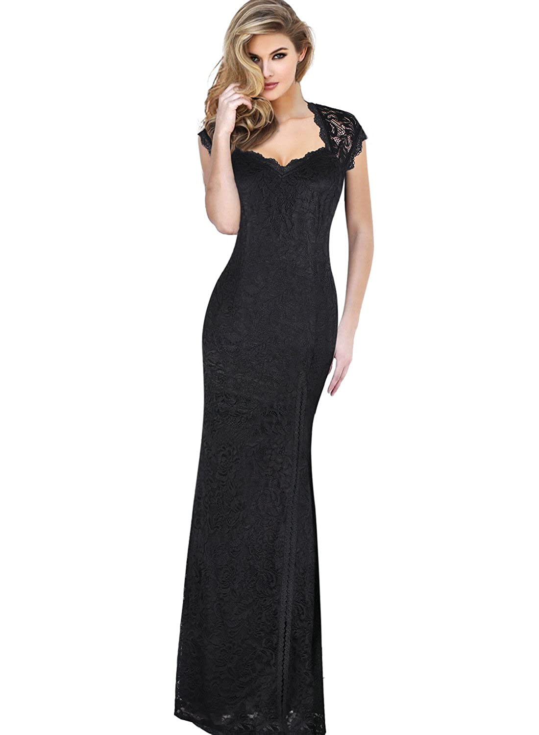 b127e6b23d3d VFSHOW Womens Vintage Floral Full Lace Formal Wedding Party Maxi Dress:  Amazon.co.uk: Clothing