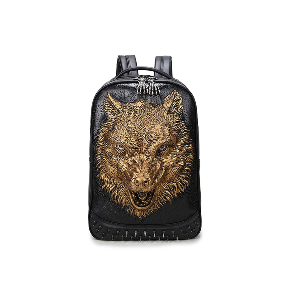 CHUO YUE 3D Stereo Backpack PU Animal Pattern Backpack Lining Ghost Hand Backpack Shoulder Bag Student Campus Trend,Gold