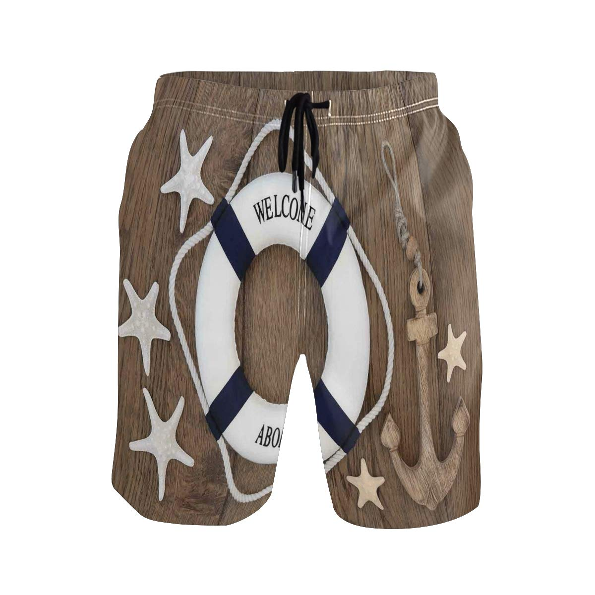COVASA Mens Summer ShortsLifebuoy Anchor Starfish Seashells Over Old Oak Backg