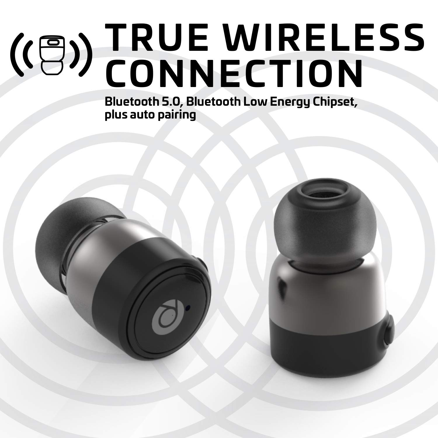 Rowkin Pace: True Wireless Earbuds w/Charging Case. Bluetooth 5.0 Compatible, Sweat-Proof Headphones. Smallest Hands-Free Earphones Headset w/Mic for Android and iPhone (Black)