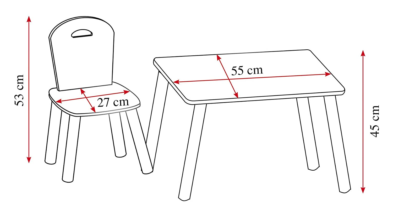 Kesper Kindertisch mit 2 Sthlen; wei , Ma e: Tisch 55 x 55 x 45 cm, Stuhl 27,5 x 27,5 x 50,5 cm, 1771213