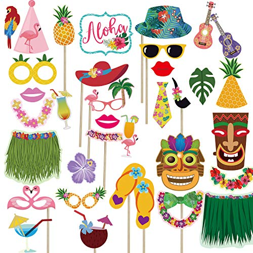 Luau Tropical Hawaiian Summer Party Photo Booth Props(36Pcs),Tiki Aloha Photo Props Pose Sign Pool Party Summer Party Decoration Supplies