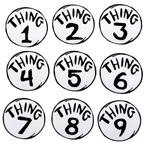 Dr. Seuss Thing 1-9 Printed Patches Set by elope (Cat In The Hat Thing 1)