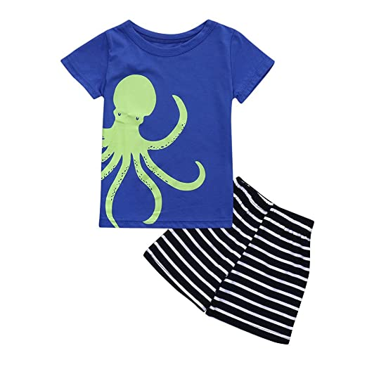 061c72a69 Amazon.com: PeZie Clearance Baby Suits Summer 2018, Toddler Kids Baby Girls  Boys Solid Tee Shirt Tops+Stripe Shorts Outfits Clothes Set: Clothing