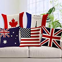 Huacel Colorful Various of National Flag Throw Pillow Cases Sofa Bedroom Cotton and Linen Cushion Cover Standard Size 18x18 Inch (45x45cm) - Canada