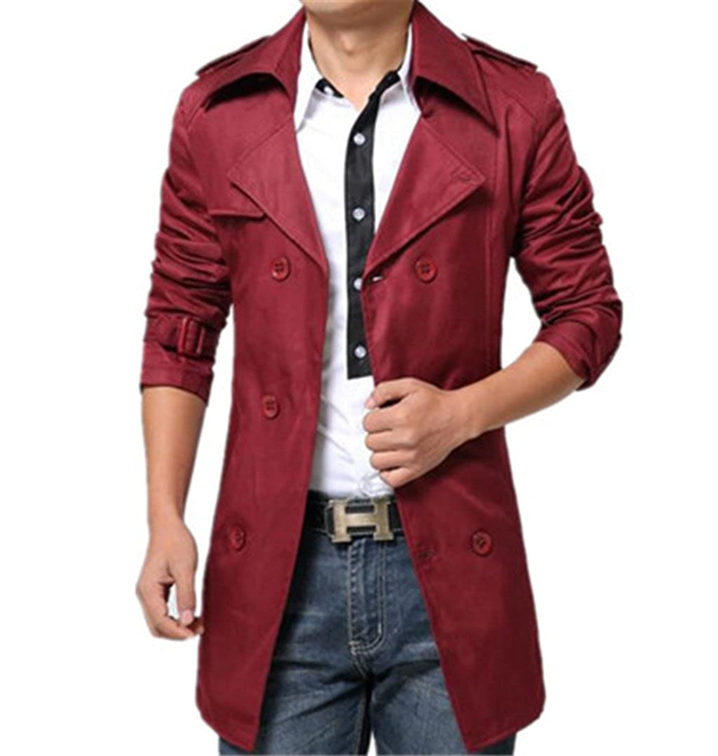 GESELLIE Men's Slim Double Breasted Trench Coat Belted Long Jacket Overcoat Outwear Yin522045127667