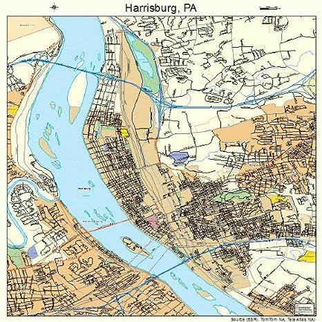 Map Of Harrisburg Pa Amazon.com: Large Street & Road Map of Harrisburg, Pennsylvania PA