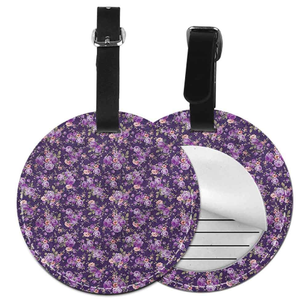 Round Leather Luggage Flower,Field with Poppies Farm Label Tag Address Holder
