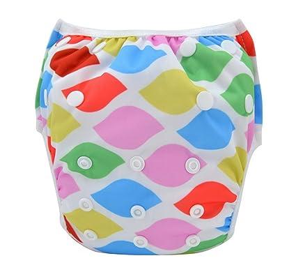 dcc07bc6662d Happy Cherry Pañal Bañador de Tela y TPU Ajustable Reutilizable Lavable  Swim Diaper Para Bebé Niño