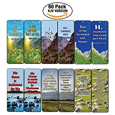 Christian Bookmarks (60-Pack)- KJV Almighty God Inspirational Favorite Bible Verses Quotes- Psalm 23 - Religious Christian Gift - Assorted Prayer Cards - Wall - God Prayer Card