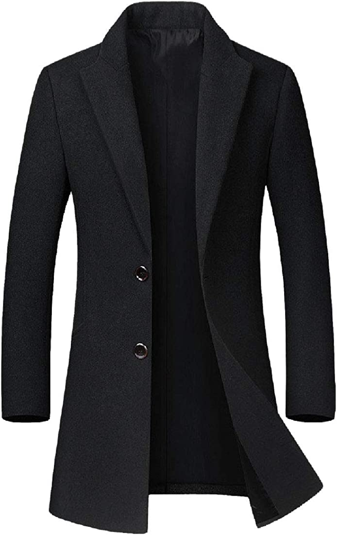 RomantcMen Mid Long Fitted Flat Collar 2 Button Wool Pea Coat