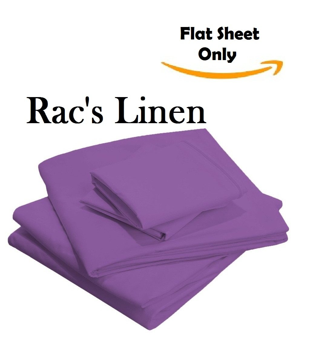 1- Pieces Seaform Flat Sheet - { Top Sheet Only } - Hotel Quality Rac's Linen 800-Thread-Count Egyptian Cotton Cal-King Size Flat Sheet Solid Style Purple Color !! Wholesale Price !!