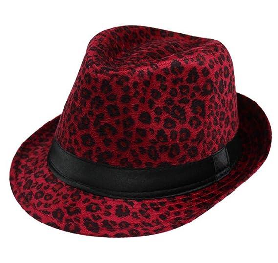 11518be06e5 Summerwhisper Women s Men s Wool Leopard Fedora Trilby Hat Cap Unisex Red