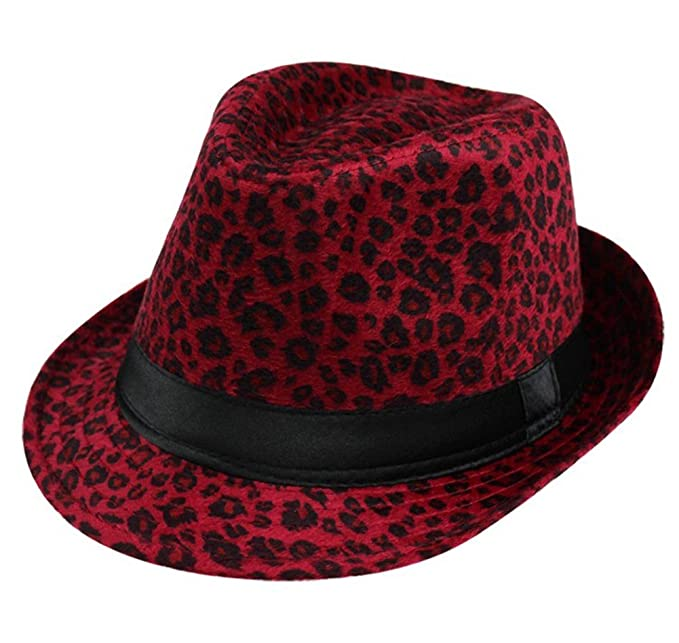 fe97abe5f7090 Summerwhisper Women s Men s Wool Leopard Fedora Trilby Hat Cap Unisex Red