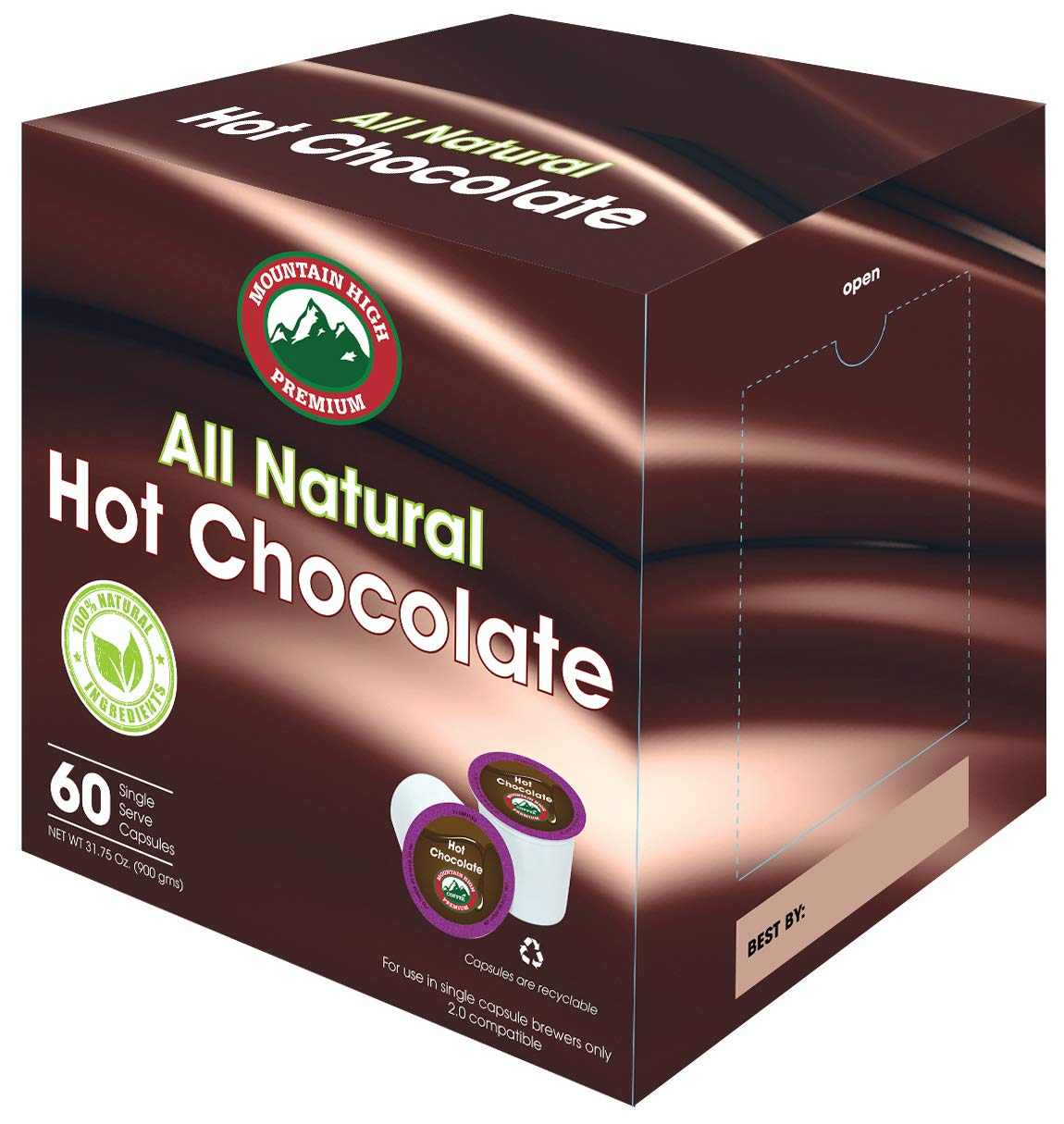 Mountain High All Natural Hot Chocolate K Cups 2.0 Compatible (Milk Chocolate, 60) by Mountain High Premium Coffee