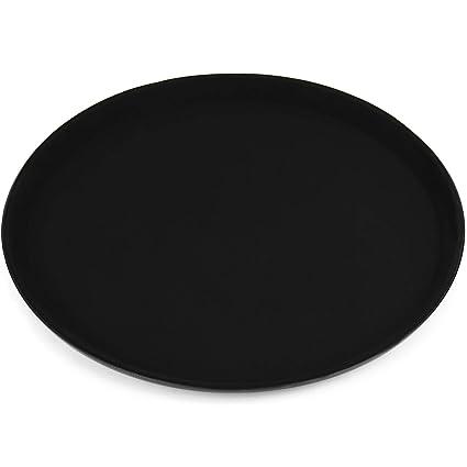 Bandeja de hostelería antideslizante para vasos y vajilla, redonda, negra, 35,5