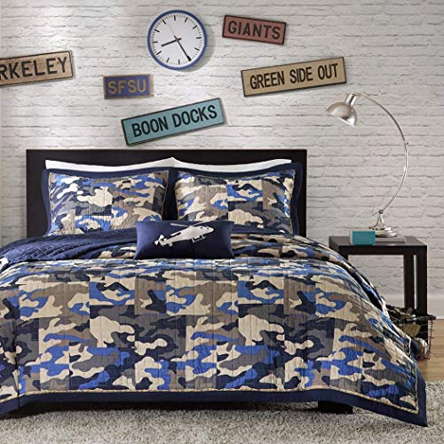 - 4 Piece Kids Boys Grey Blue Camouflage Coverlet Full Queen Set, Army Camo Bedding Navy Cream Gray Colors Military Pattern Abstract Helicopter Pillow Teen Childrens, Polyester